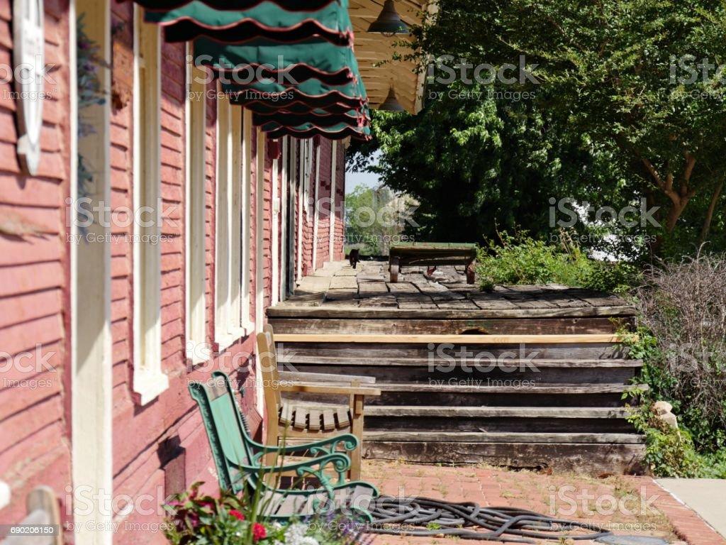 Ruins of a train platform, Pauls Valley, Oklahoma stock photo