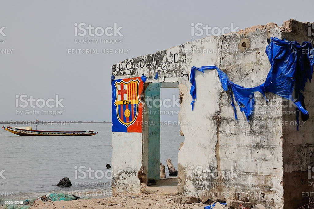 Ruins of abandoned store. Diogue island-Senegal. 2095 stock photo