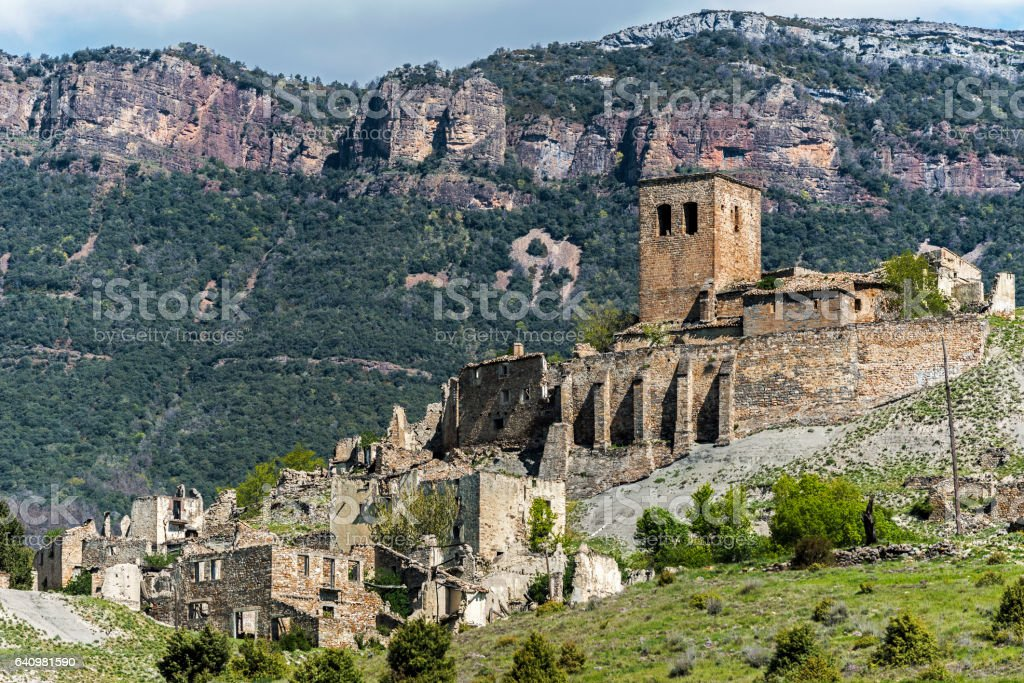 Ruins of abandoned village Esco in Spain stock photo