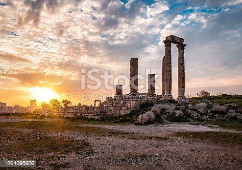 ruins of Amman Citadel at sunset in Jordan