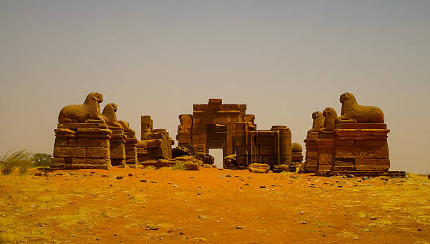 ruins of amun temple naqa meroe, ancient kush sudan - sudan stock photos and pictures