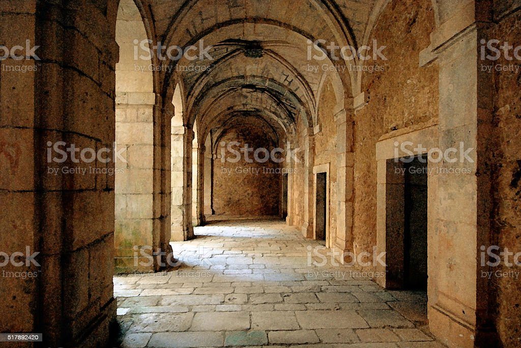 Ruins of an ancient monastery stock photo