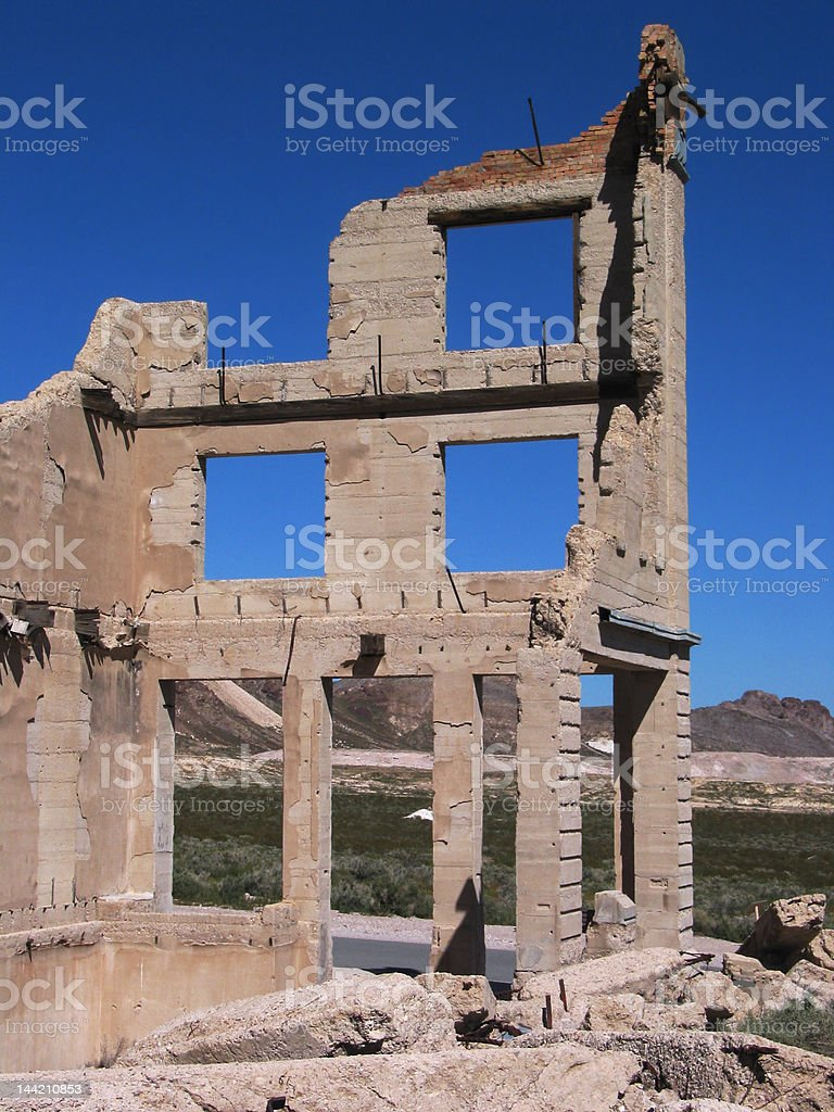 Ruins of an Old Bank stock photo