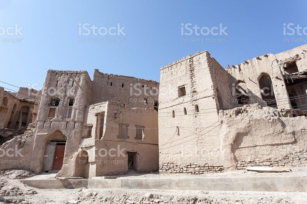 Ruins of an Omani village stock photo