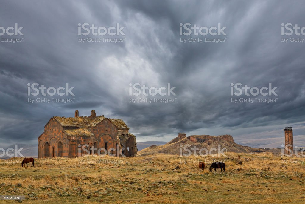 Ruins of ancient Armenian capital of Ani, in Kars, Turkey. stock photo