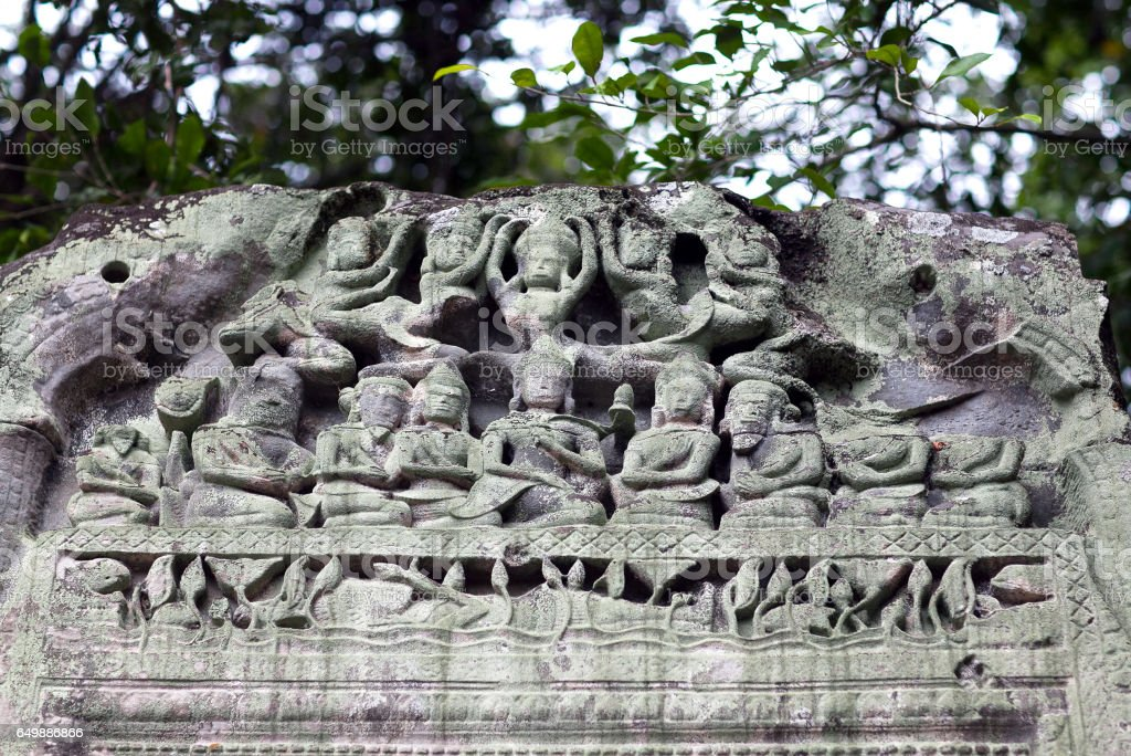 Ruins of ancient Beng Mealea Temple in Cambodia stock photo