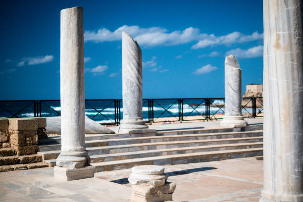Ruins of ancient Cesarea built by Herod, Israel stock photo