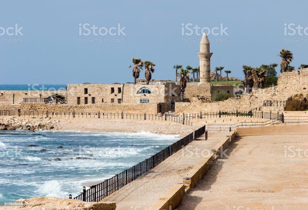 Ruins of ancient Cesarea built by Herod stock photo