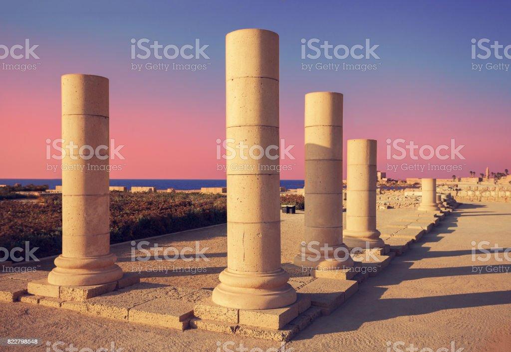 Ruins of ancient city Caesaria, Israel stock photo