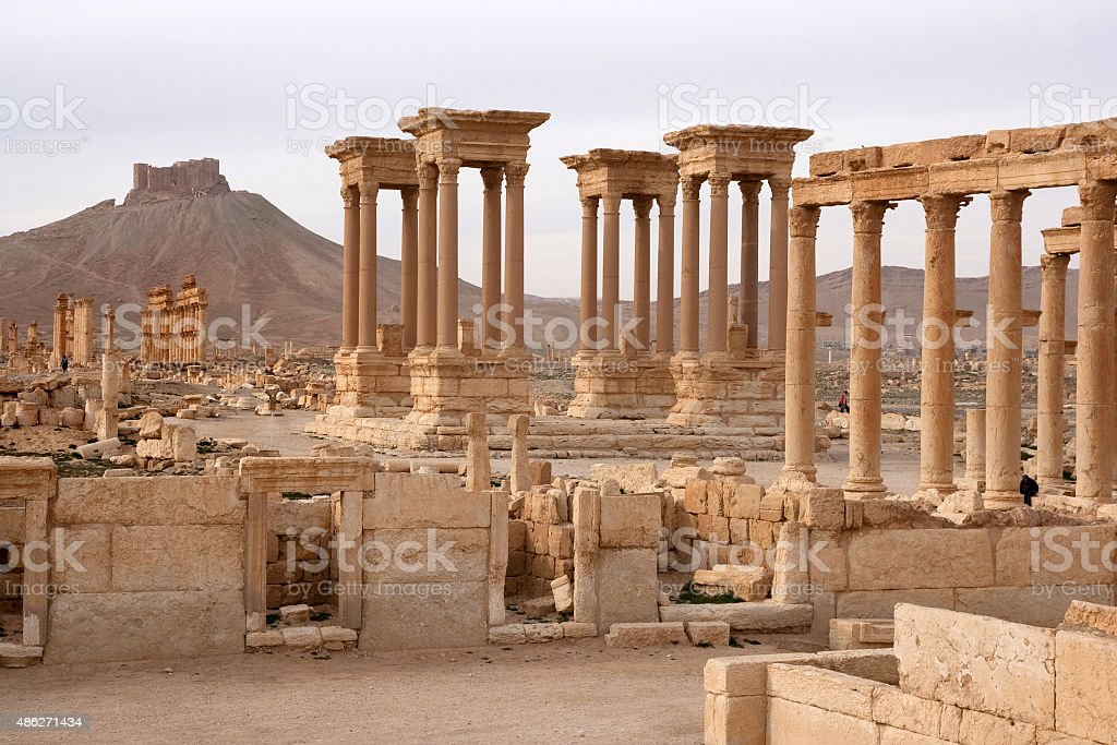 Ruins of ancient city of Palmyra - Syria stock photo