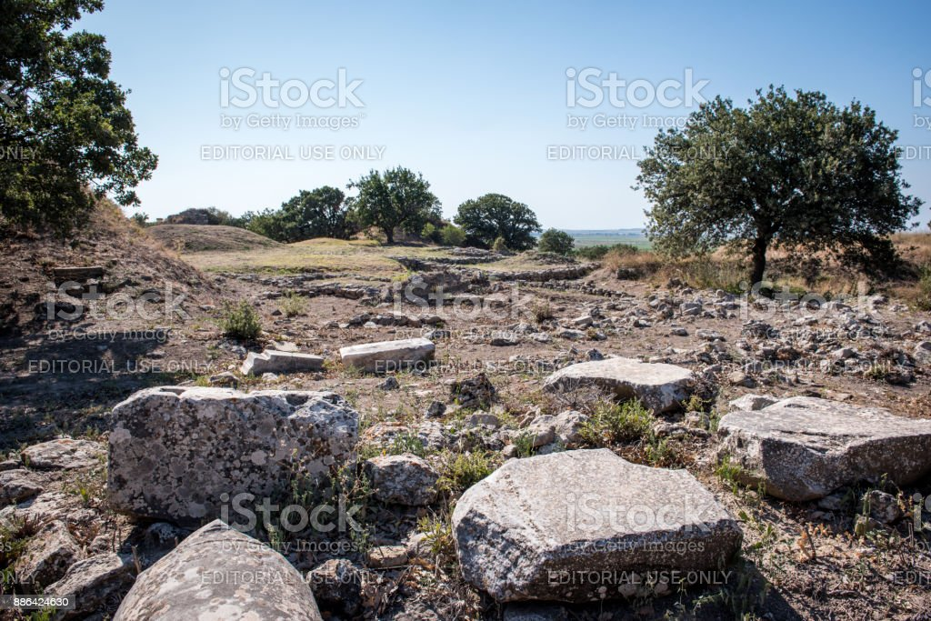 Ruins of ancient city Troy or Trojan in Canakkale, Turkey stock photo