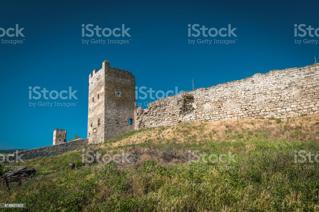 Ruins of ancient Genoese fortress in Feodosia, Crimea stock photo