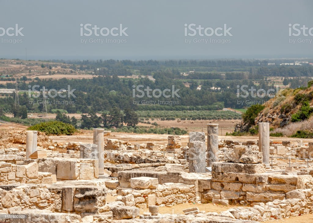 Ruins of ancient greek town Kourion on Cyprus stock photo