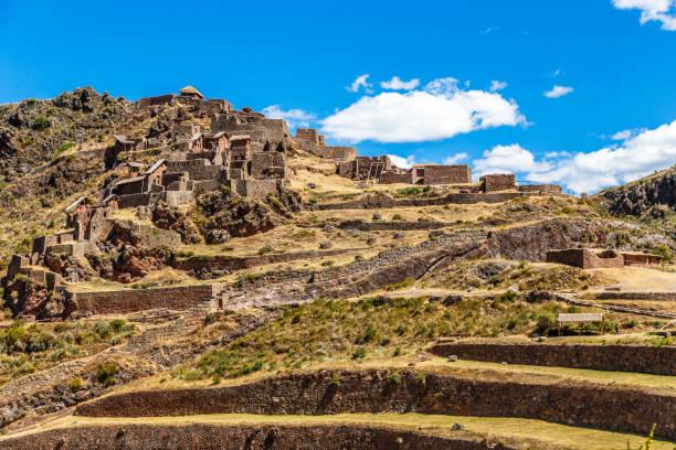 Ruinen der alten Inka-Zitadelle mit Terrassen auf dem Berg, Pisac, Peru – Foto