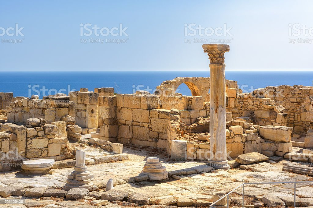 Ruins of ancient Kourion at sunset, Limassol District. Cyprus stock photo