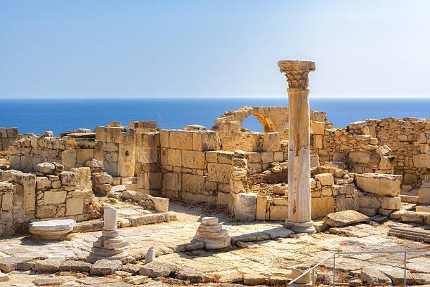ruins of ancient kourion at sunset, limassol district. cyprus - harabe stok fotoğraflar ve resimler