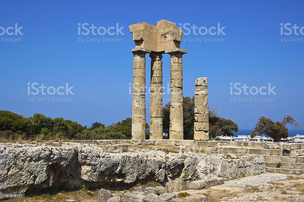 Ruins of ancient temple in Lidos, Greece royalty-free stock photo