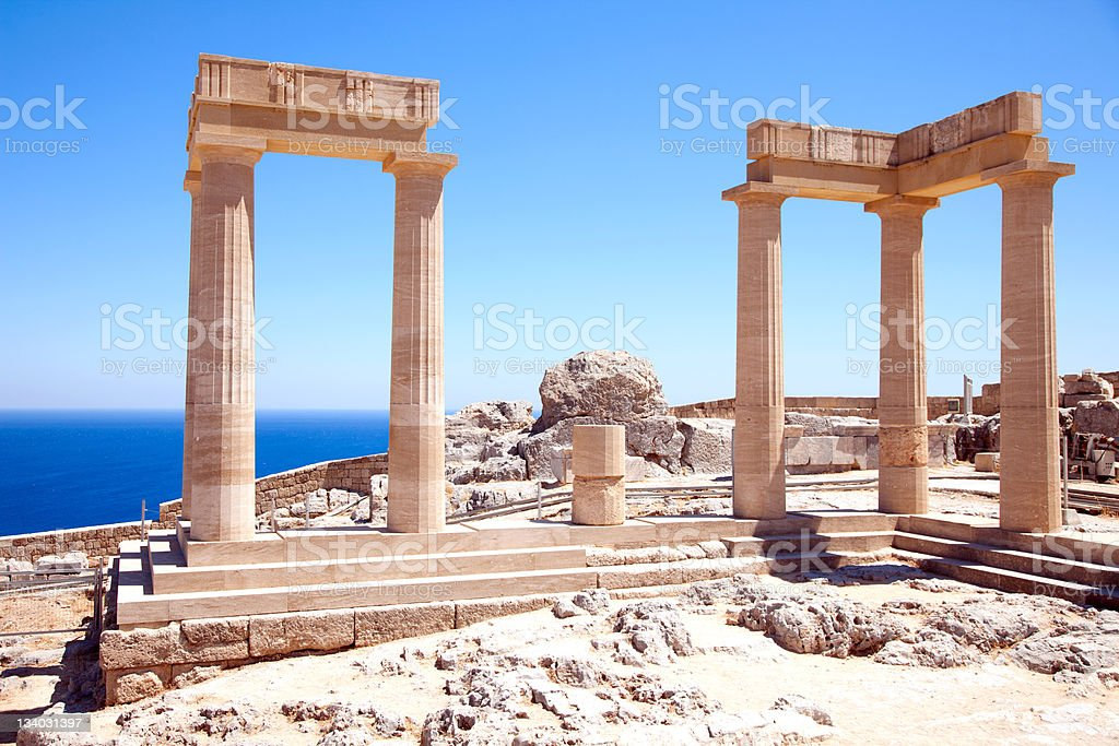 Ruins of ancient temple. Lindos. Rhodes island. Greece stock photo
