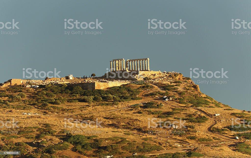 ruins of ancient temple of Poseidon, Attica, Greece stock photo