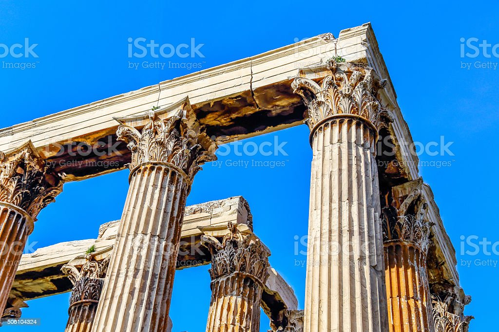 ruins of ancient temple  Zeus, Athens, Greece stock photo