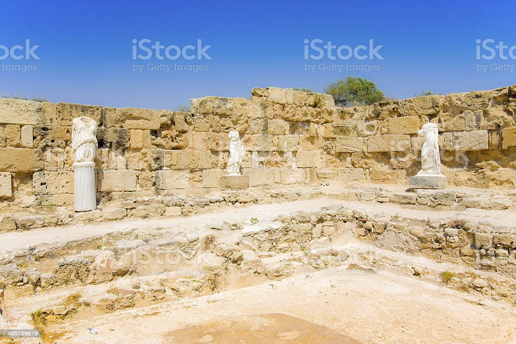 Ruins of ancient theater in town Salamis, Northern Cyprus royalty-free stock photo