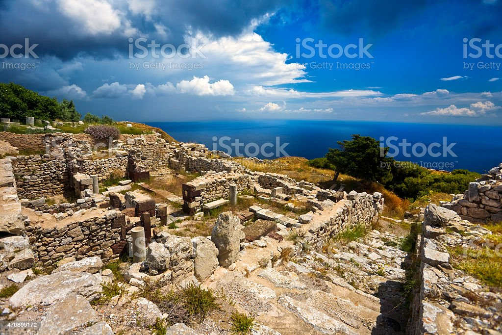 Ruins of Ancient Thera stock photo