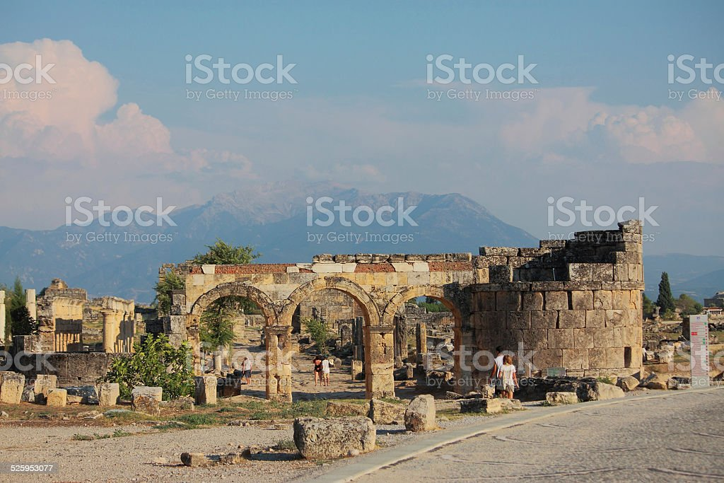 ruins of ancient town Hierapolis stock photo