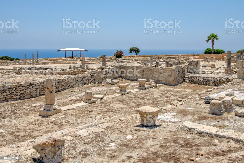 Ruins of ancient town Kourion on Cyprus stock photo