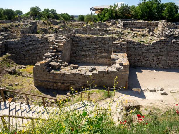 Ruins of ancient Troia city, Canakkale (Dardanelles) / Turkey stock photo