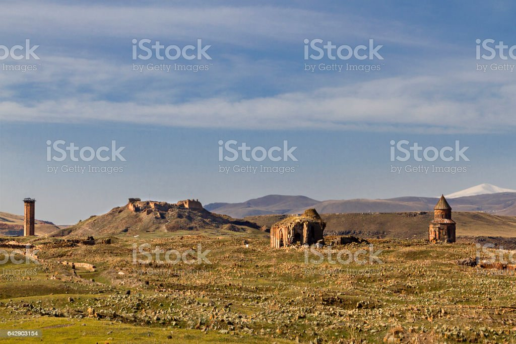 Ruins of Ani, capital of the ancient Armenian Bagradit Kingdom near the province of Kars, Turkey. stock photo