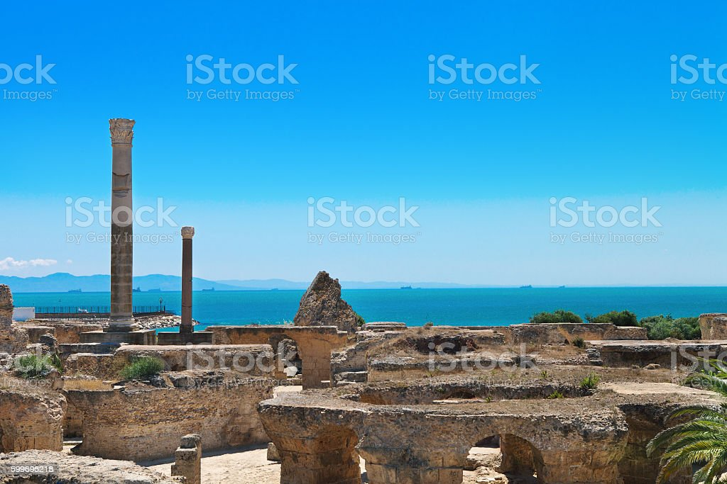 Ruins of Antonine Baths at Carthage stock photo