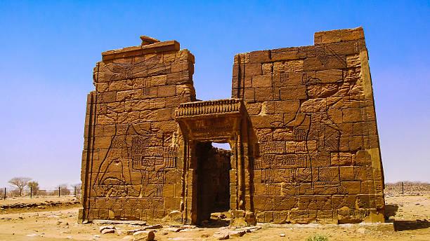 ruins of apademak temple kush civilization, naqa, meroe sudan - sudan stock photos and pictures