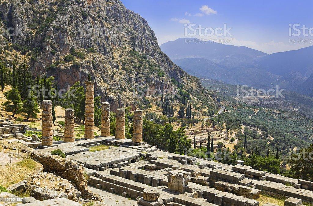 Ruins of Apollo temple in Delphi, Greece royalty-free stock photo