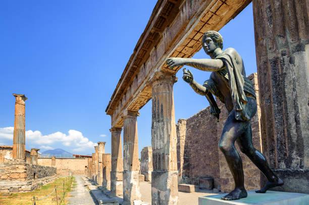 Ruins of Apollo Temple, Pompeii, Naples, Italy stock photo