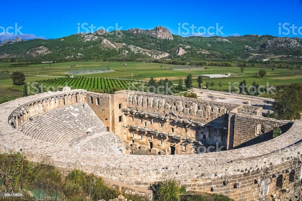 Aspendos tiyatrosu kalıntıları stok fotoğrafı