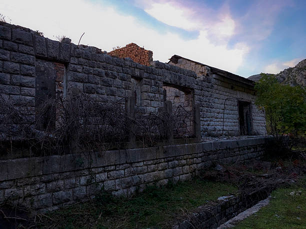 Ruins of Austro-Hangarian Railway Station in Konavle ストックフォト
