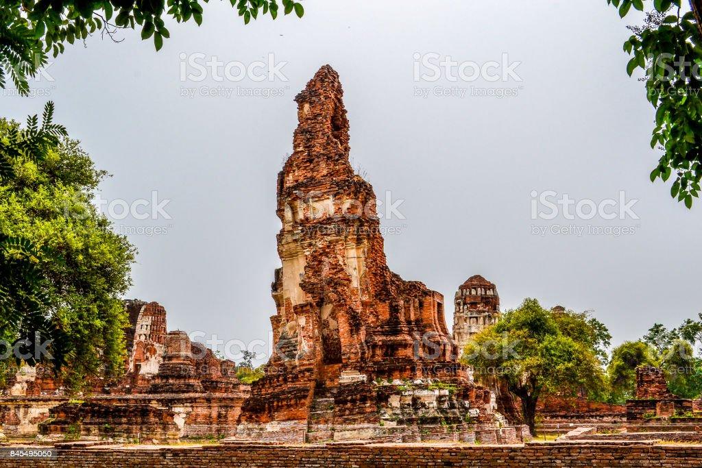 Ruins of Ayutthaya ancient capital of Thailand stock photo