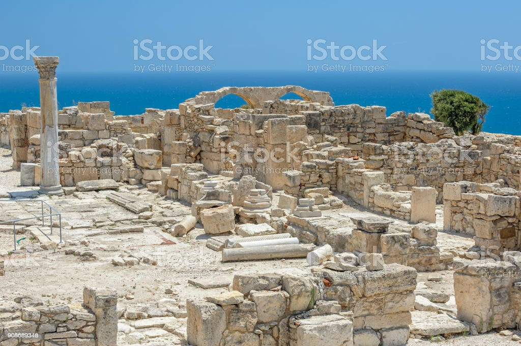 Ruins of basilica in ancient town Kourion on Cyprus stock photo