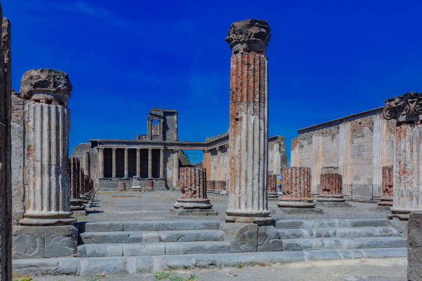 Ruins of basilica in the forum of Pompeii, Italy Ancient ruins of basilica in the forum of Pompeii, Italy roman forum stock pictures, royalty-free photos & images