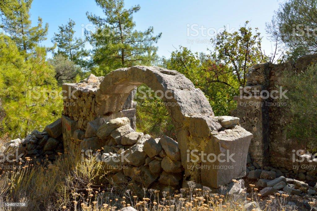 Bizans Kilisesi Bozburun Yarımadası'nın Türkiye'deki Gerbekilise kalıntıları. stok fotoğrafı