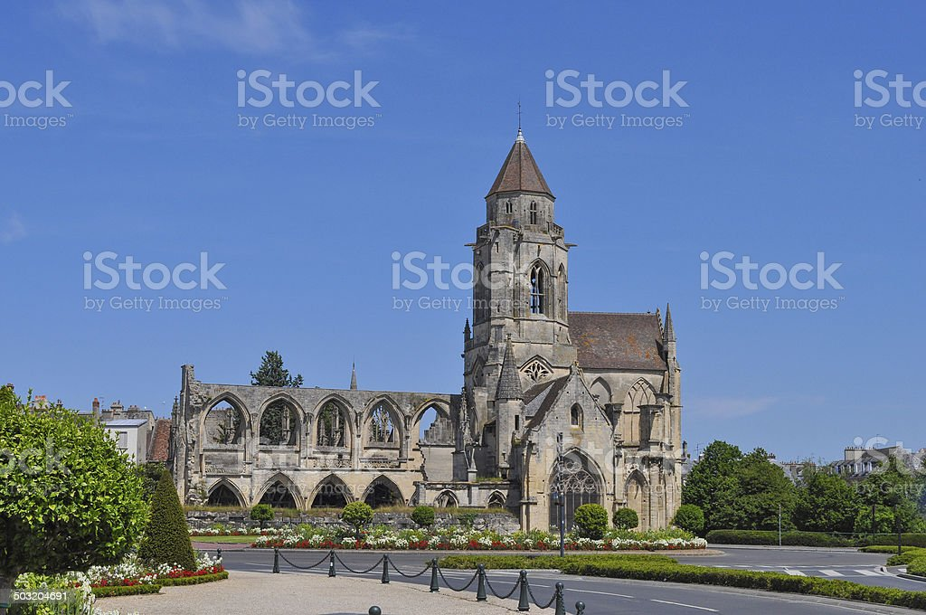 Ruins of Caen Abbey stock photo
