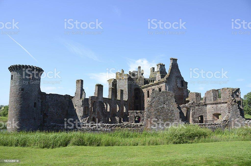Ruins of Caerlaverock Castle stock photo
