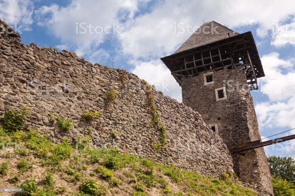 Ruins of Castle Nevytske in Transcarpathian region. Main keep tower (donjon) royalty-free stock photo