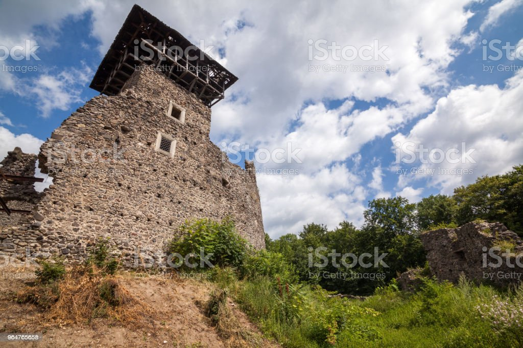 Ruins of Castle Nevytske in Transcarpathian region. Main keep tower (donjon) royalty-free stock photo