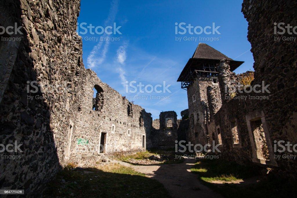 Ruins of Castle Nevytske in Transcarpathian region. Uzhgorod photo. Nevitsky Castle built in 13th century. Ukraine. royalty-free stock photo