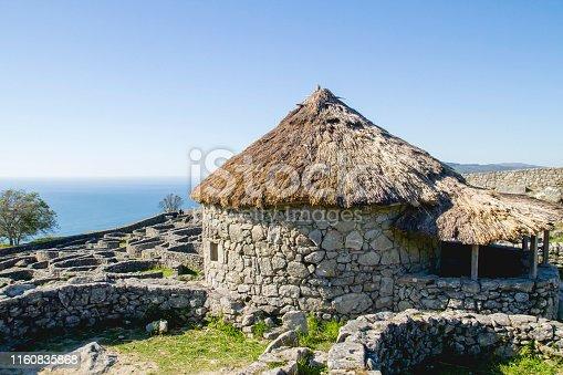 Celtic village ruins Castro de Santa Trega, Pontevedra, Galicia, Spain.