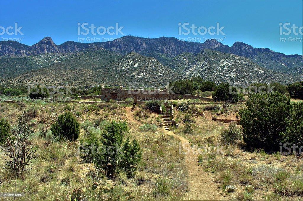 Ruins of Civilian Conservation Corps Cabin, Albuquerque, New Mexico. stock photo