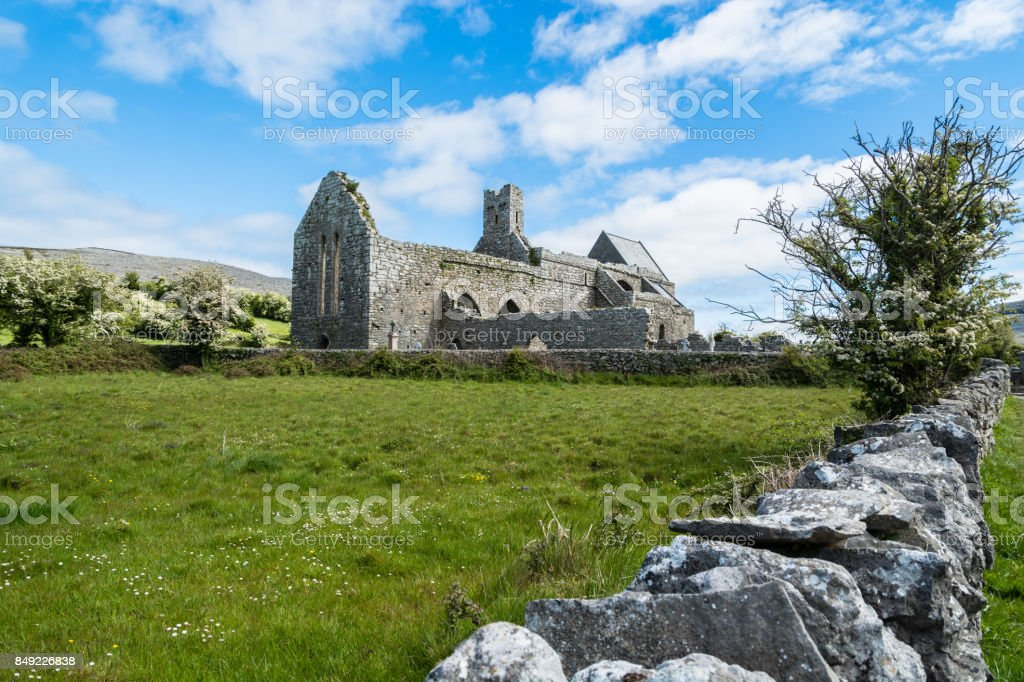 Ruins of Corcomroe Abbey in Ireland stock photo