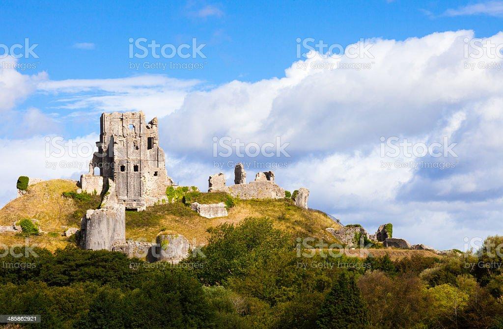 Ruins of Corfe Castle, Dorset, England stock photo