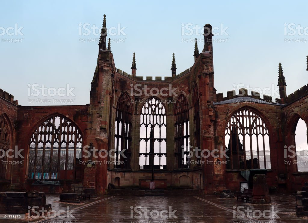 Ruins of Coventry Cathedral, UK stock photo